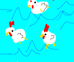 chickens are swimming