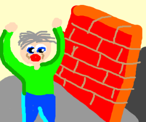 dude scared of a brick wall