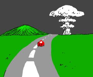 Driving towards nuclear mushroom.