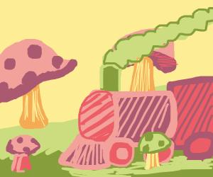 A train traveling through mushroom land