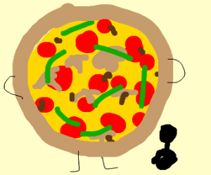 Giant Pizza compared to Human