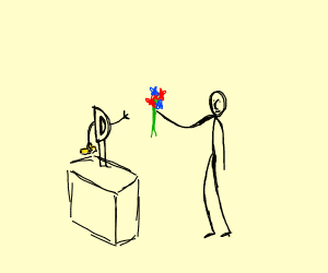 Guy gives flowers to drawception