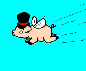FLYING PIG WITH TOP HAT