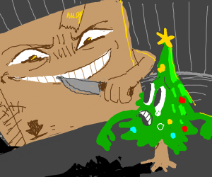 Big carton box threatening a small xmas tree