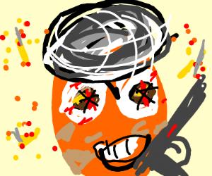 Dirty orange stick Terrorist with AK47