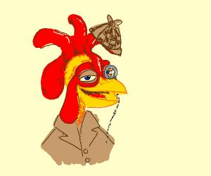 a detective chicken mascot.