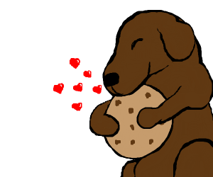 dog falls in love w/ cookie.