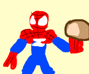 Spider-Man with bread
