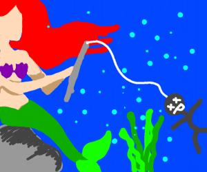 Mermaid fishing up dead people