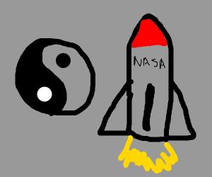 Ying yang + rocket ship