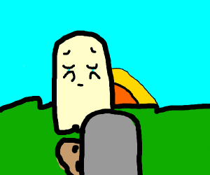 Ghost cries looking at her grave