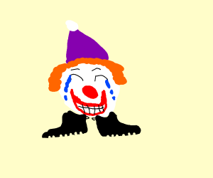 Clown head with rubber shoes cries happily