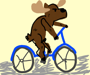 moose riding a bicycle