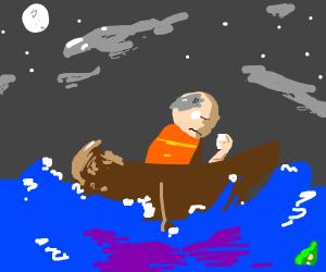 Sad man on a boat