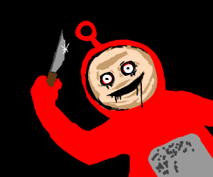 Red telly tubby with knife and murder intent