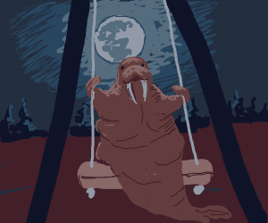 Walrus on a swing