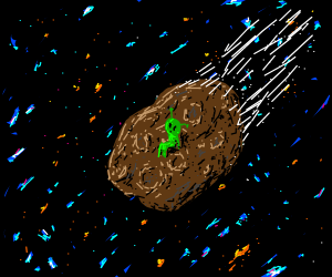 Alien on asteroid travelling through space.