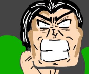 Angry man with teeth