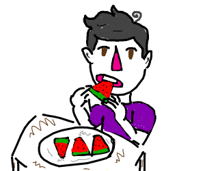 Some guy eating a watermelon