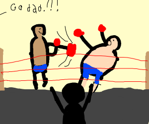 the dads are boxin', some guy is cheering