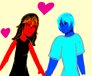 Red girl in love with Blue guy