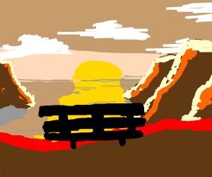 (Vincent Van Gogh Jr.) Sunset on a Mountain