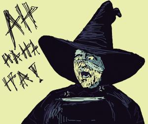 Witch using a cauldron