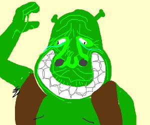 Shrek's Smile reaches his eyes.