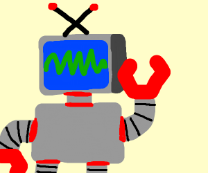 TV-Robot thinking happily