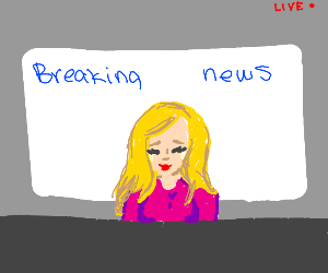 Blonde news anchor is live