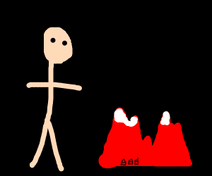 Giant man next to red mountains in a void