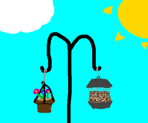 a flower pot hanging on a rope thing