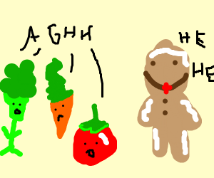 Vegetables are annoyed by creepy gingerbread