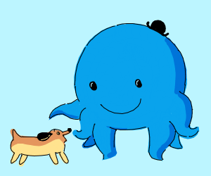 Oswald the Octopus and his puppy