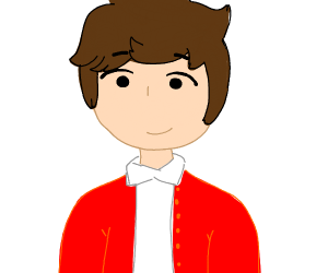 Guy wearing a red cardigan and a white shirt