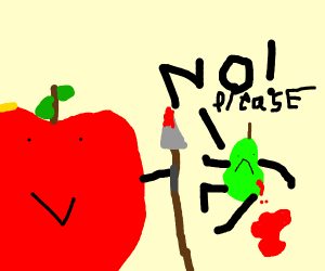 an apple fighting a pear
