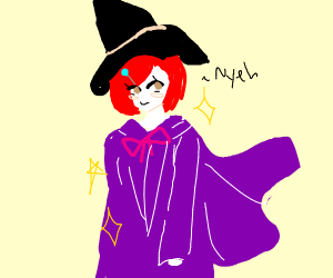 A wizard in fabulous purple robes and hat.