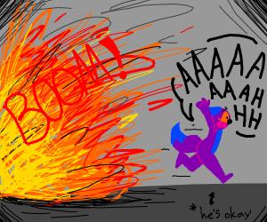 fox running from explosion