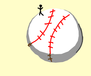 Tiny man on a baseball