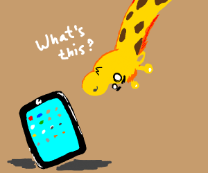Giraffe discovers an iPad