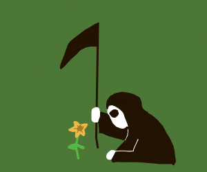Reaper looking expectantly at a daffodil