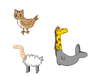 A group of Weird Animal Hybrids