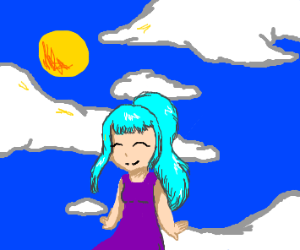 light-blue haired girl