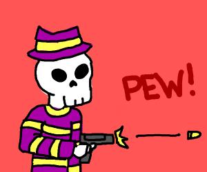 skeleton in purple sweater+fedora shoots gun