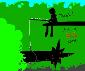 Man on log fishing