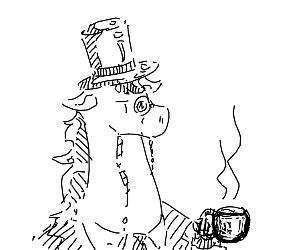 Fancy horse head in top hat (black and white)
