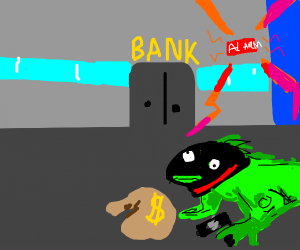 an iguana robs the bank