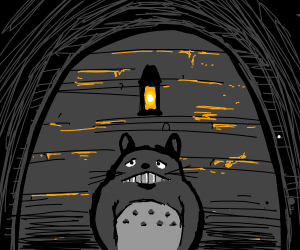Totoro in a spooky place