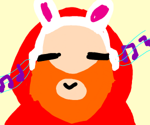 Bearded man in hoodie w/ rabbit ear headphone