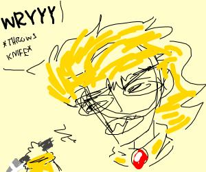 """Dio throws knifes saying """"WRYYYYYY"""""""